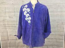 Women's Jacket Bob Mackie Wearable Art Purple Suede Leather Jacket Size 3XL Plus