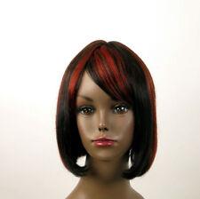 perruque afro 100% cheveux naturel mi long méchée noir/rouge JACKIE 02/1b410