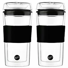 2 x cups - 20% off 2nd Hardened Glass Tea & Coffee traveller mug travel eco cup
