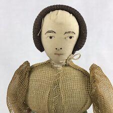 Cloth Doll No Legs Long Dress With Train Bun 10 Inch Vintage Burlap Fabric