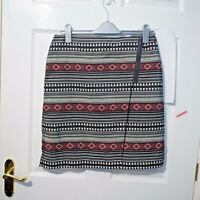 M&S Collection Short Skirt Aztec Stripe Black Red Smart Skirt Size12