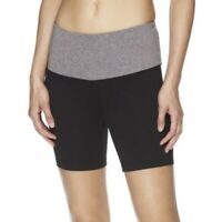 Reebok Women's Gray Black Uptown High Rise Fitted Compression Shorts Size XS