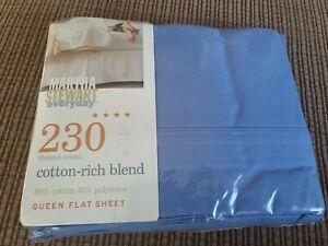 Vintage Full Flat Sheet Martha Stewart 100% satin cotton, blue, 230 thread new