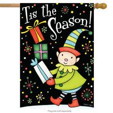 """Tis The Season! Christmas House Flag Santa's Elf 28"""" x 40"""" Briarwood Lane"""
