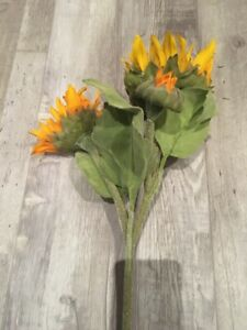 """NEW Pottery Barn Faux Sunflowers 17"""" Single Stem 3 Buds Spring Summer Fall NWT"""
