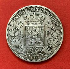 Pièce de collection Argent Silver 5 francs 1867 Léopold II Roi des Belges KM#24