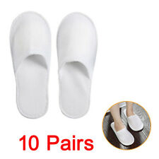 10x White Cotton Slippers Hotel SPA Disposable Shoes Home Guest Supply Slippers