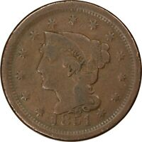 1851, 1c, Large Cent - Braided Hair - Collectors Coin