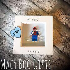 Personalised Gift Present Lego Frame Superhero Dad Daddy Grandad Spiderman