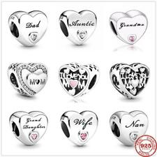 925 Sterling Silver Family Love Mum Wife Aunt Dad Nan Grandma Heart Charm Beads