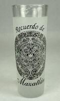 "Recuerdo de Mazatlan Mexican Resort Sinaloa Frosted Shot Glass 4"" Tall"
