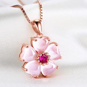 Huge Rose Gold Plated Flower Rose Quartz Gemstone Silver Women Necklace Pendants
