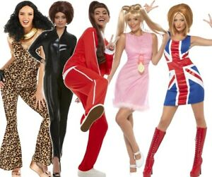 Womens Spice Girl Power Ginger Scary Sporty Baby Posh Fancy Dress Costumes Wigs