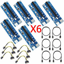 Pack of 6pc PCI-E Express USB3.0 1x to16x Extender Riser Card  SATA Power Cable