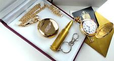 24k Gold Clad JAMES BOND 007 Pocket Watch & USB Bullet Memory Stick Keyring