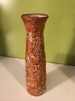 "Vintage MCM Orange Thick Lava Glaze Art Pottery Vase Mid Century 11 1/2"""