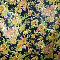 Vintage bloomcraft Fabric Material Songbird Bird of Paradise Parrot Tropical VTG