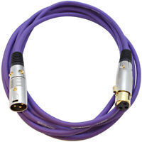Premium 10 Foot Purple XLR Patch Cable Cord - 3 Pin XLRF to XLRM Mic Cord
