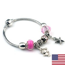 Women Man 925 Sterling Silver Handmade Pink Crystal Evil Bangle Bead Bracelet