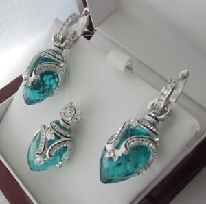 AQUAMARINE EARRINGS & PENDANT SET HANDMADE RUSSIAN SOLID STERLING SILVER 925