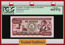 TT PK 128 1980 MOZAMBIQUE 1000 METICAIS PCGS 66 PPQ GEM NEW POPULATION ONE