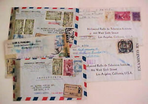 MEXICO  5 REGISTERED  SMALL CENSORED  COVERS TO USA