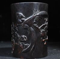 Collect natural rosewood carved flower and birds Chinese Brush Pot Pencil Vase
