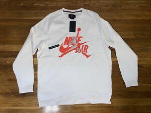 Nike Air Mens Jordan Jumpman Classics Crew Sweatshirt White Size XXL NWT