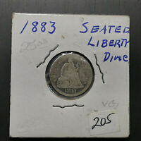 1883 P 90% US Silver 10c Seated Liberty Dime