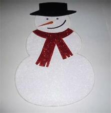 Christmas Holiday Placemat Centerpiece Snowman w/Scarf Glitter Accent Cute NEW