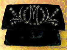 """30's/40's Vintage Majestic Black Velvet Monogramed """"M"""" Evening Bag Purse Clutch"""