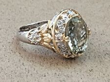 HSN VICTORIA WIECK Prasiolite and Sapphire in Sterling Silver 925 Ring size 10