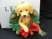 Lenox 2000 A Golden Christmas Retriver Dog Wreath Ornament NIB