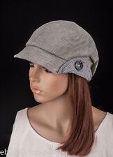 M488 Gray Cute Stripe Sparkle Lady Women Summer Sun Hat Newsboy Beanie Cap