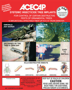 """Acecap Systemic Insecticide Tree Implants 3/8"""" Acephate larger than 3"""" diam."""