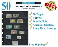 50 Lighthouse Vario 6S Stamp Stock Pages 6 Rows Double Side Archival Sheets New