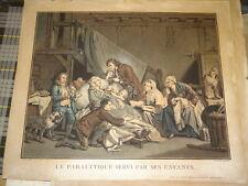 dap Jean-Baptiste GREUZE GRANDE Gravure Couleur XVIII MALADE ENFANTS ALIX 1800