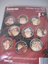 "Janlynn Christmas Santa Ornaments Cross Stitch Kit NEW - 9 3"" Round Ornaments"