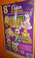N.O.S 1992 Beistle 8 pc.Decorama no.44454 Packaged! Easter Cutouts & Centerpiece