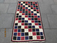Old Traditional Hand Made Persian Oriental Gabbeh Rug Wool Red Blue 168x94cm