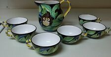 Grazia Deruta Italian Pottery Susan Eslick Pitcher w 6 Cups Monkey Leave Signed