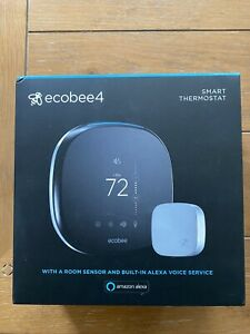Ecobee4 Smart Thermostat, Built-In Alexa, With Remote Room Sensor - New