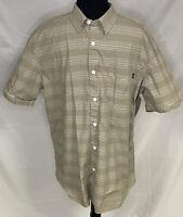 Oakley Men's Short Sleeve Button Down Shirt Size XL Tan Striped
