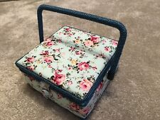 Square Sewing Box with Floral Design, A Wicker Handle & Metal Press Stud