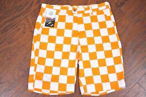 NWT Loudmouth Golf Shorts Rocky Top Orange White Check Men's 36