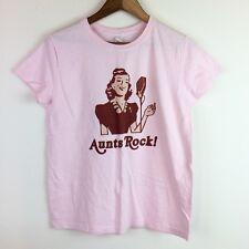 Aunts Rock! Medium Pink T-Shirt Rockabilly Woman Singing Microphone Baby Gift B