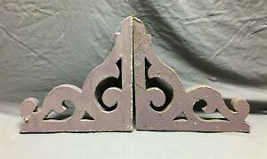 Pair Antique Gingerbread Roof Corbel Brackets Shabby VTG Purple Chic 279-21B