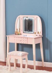 Modern Dressing Table Makeup Vanity Desk w/ Drawers Mirror Stool LED Light Set
