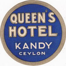 Sri Lanka Ceylon Queen's Hotel Vintage Luggage Label sk3554