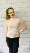 Ladies Pink Polka Dot Sheer Sleeve Blouse Size 8